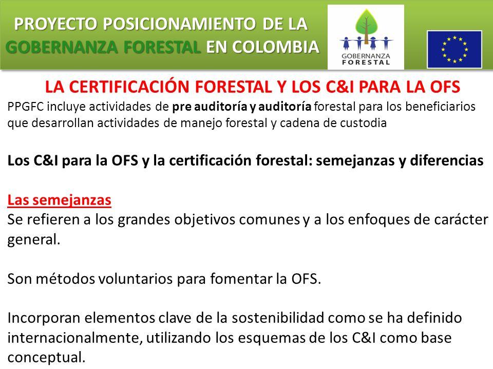 PROYECTO POSICIONAMIENTO DE LA GOBERNANZA FORESTAL EN COLOMBIA PROYECTO POSICIONAMIENTO DE LA GOBERNANZA FORESTAL EN COLOMBIA LA CERTIFICACIÓN FORESTA