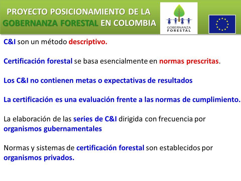 PROYECTO POSICIONAMIENTO DE LA GOBERNANZA FORESTAL EN COLOMBIA PROYECTO POSICIONAMIENTO DE LA GOBERNANZA FORESTAL EN COLOMBIA C&I son un método descri