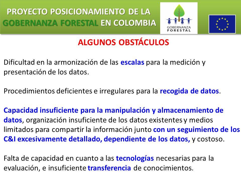 PROYECTO POSICIONAMIENTO DE LA GOBERNANZA FORESTAL EN COLOMBIA PROYECTO POSICIONAMIENTO DE LA GOBERNANZA FORESTAL EN COLOMBIA ALGUNOS OBSTÁCULOS Dific