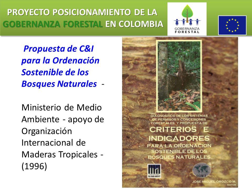 PROYECTO POSICIONAMIENTO DE LA GOBERNANZA FORESTAL EN COLOMBIA PROYECTO POSICIONAMIENTO DE LA GOBERNANZA FORESTAL EN COLOMBIA Propuesta de C&I para la