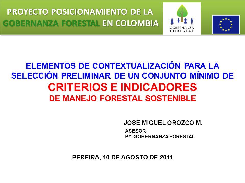 PROYECTO POSICIONAMIENTO DE LA GOBERNANZA FORESTAL EN COLOMBIA PROYECTO POSICIONAMIENTO DE LA GOBERNANZA FORESTAL EN COLOMBIA DESARROLLO DE INDICADORES A NIVEL LOCAL Los indicadores a nivel local (INL) pueden aplicarse para evaluar el estado o la calidad de la ordenación forestal en un área determinada, desde un pequeño lote de bosques privados hasta una unidad de ordenación forestal de un millón de hectáreas.