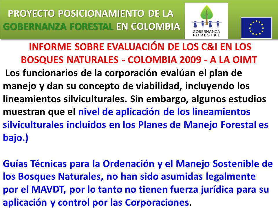 PROYECTO POSICIONAMIENTO DE LA GOBERNANZA FORESTAL EN COLOMBIA PROYECTO POSICIONAMIENTO DE LA GOBERNANZA FORESTAL EN COLOMBIA INFORME SOBRE EVALUACIÓN