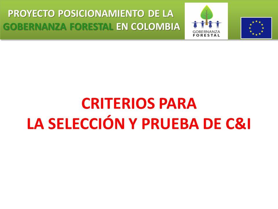 PROYECTO POSICIONAMIENTO DE LA GOBERNANZA FORESTAL EN COLOMBIA PROYECTO POSICIONAMIENTO DE LA GOBERNANZA FORESTAL EN COLOMBIA CRITERIOS PARA LA SELECC