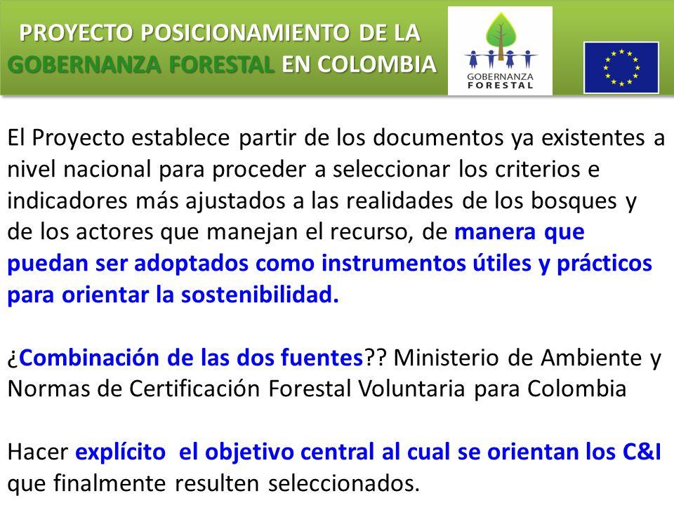 PROYECTO POSICIONAMIENTO DE LA GOBERNANZA FORESTAL EN COLOMBIA PROYECTO POSICIONAMIENTO DE LA GOBERNANZA FORESTAL EN COLOMBIA El Proyecto establece pa