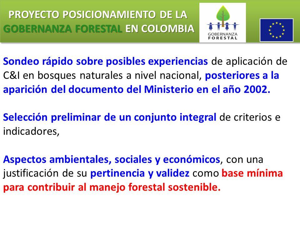 PROYECTO POSICIONAMIENTO DE LA GOBERNANZA FORESTAL EN COLOMBIA PROYECTO POSICIONAMIENTO DE LA GOBERNANZA FORESTAL EN COLOMBIA Sondeo rápido sobre posi