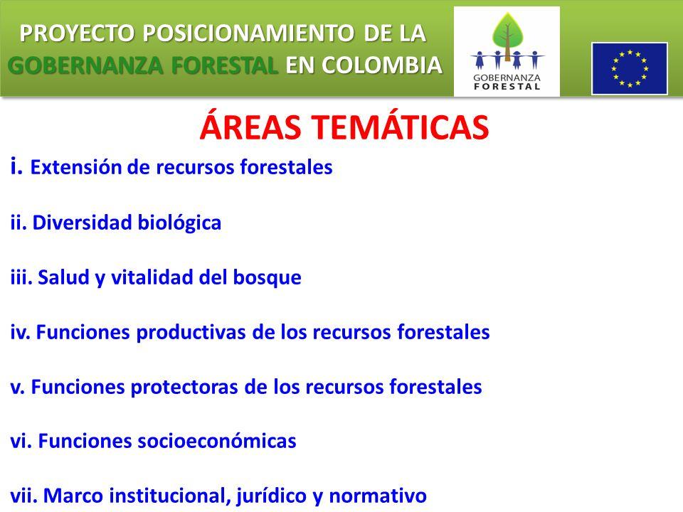 PROYECTO POSICIONAMIENTO DE LA GOBERNANZA FORESTAL EN COLOMBIA PROYECTO POSICIONAMIENTO DE LA GOBERNANZA FORESTAL EN COLOMBIA ÁREAS TEMÁTICAS (OIMT) 1)Condiciones que posibilitan el manejo forestal sostenible 2) Extensión y estado de los bosques; 3) Salud de los ecosistemas forestales 4) Producción forestal 5) Diversidad biológica 6) Protección de suelos y aguas 7) Aspectos económicos, sociales y culturales.