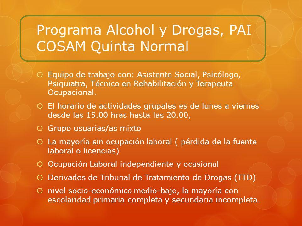 Programa Alcohol y Drogas, PAI COSAM Quinta Normal Equipo de trabajo con: Asistente Social, Psicólogo, Psiquiatra, Técnico en Rehabilitación y Terapeu