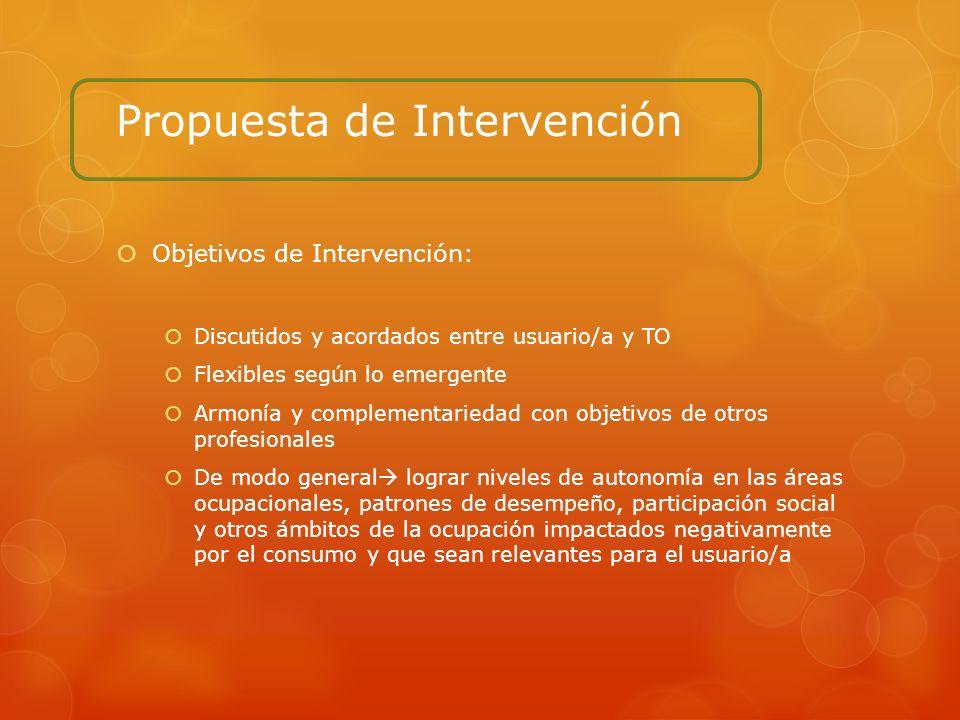 Propuesta de Intervención Objetivos de Intervención: Discutidos y acordados entre usuario/a y TO Flexibles según lo emergente Armonía y complementarie