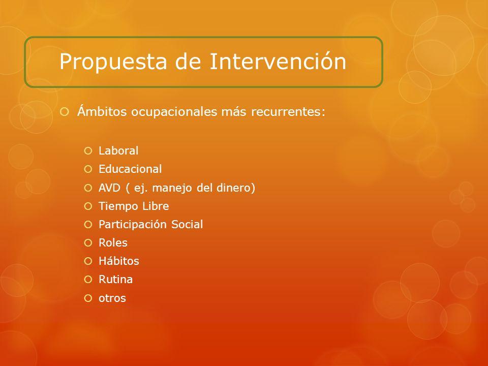 Propuesta de Intervención Ámbitos ocupacionales más recurrentes: Laboral Educacional AVD ( ej. manejo del dinero) Tiempo Libre Participación Social Ro