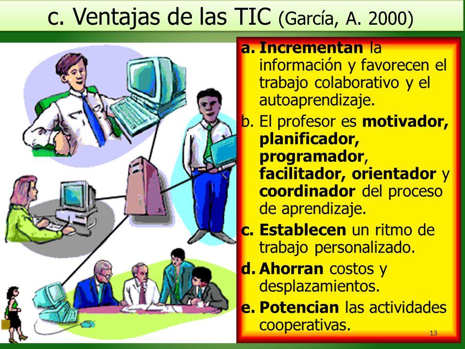 c. Ventajas de las TIC (García, A. 2000) c. Ventajas de las TIC (García, A. 2000) Ramón R. Abarca Fernández a.Incrementan la información y favorecen e