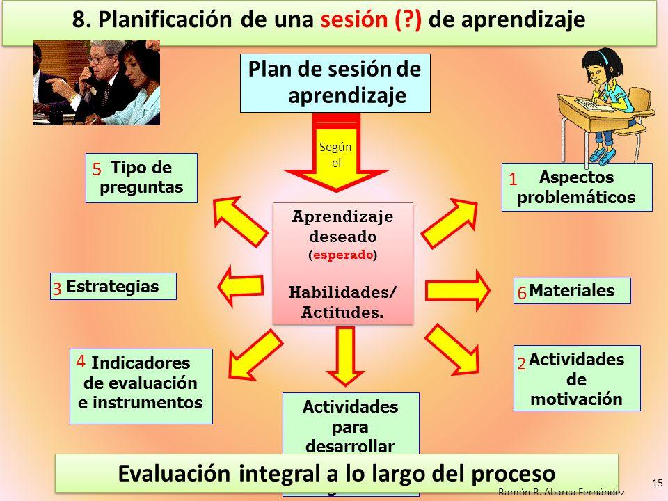 8. Planificación de una sesión (?) de aprendizaje Plan de sesión de aprendizaje Estrategias Materiales Aspectos problemáticos Tipo de preguntas Activi