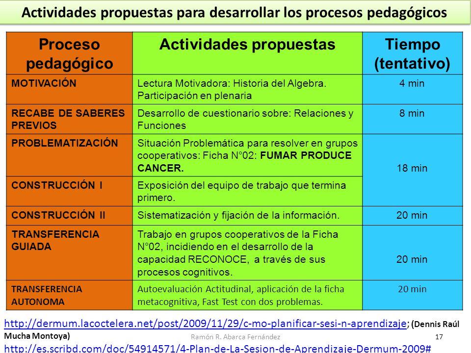 Actividades propuestas para desarrollar los procesos pedagógicos Proceso pedagógico Actividades propuestasTiempo (tentativo) MOTIVACIÓNLectura Motivad