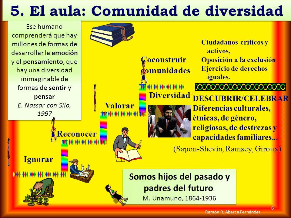 5. El aula: Comunidad de diversidad 5. El aula: Comunidad de diversidad Ignorar Reconocer Valorar Coconstruir comunidades (Sapon-Shevin, Ramsey, Girou