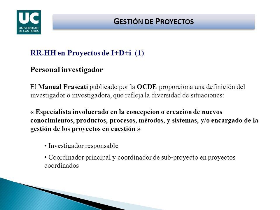 G ESTIÓN DE P ROYECTOS RR.HH en Proyectos de I+D+i (1) Personal investigador El Manual Frascati publicado por la OCDE proporciona una definición del i