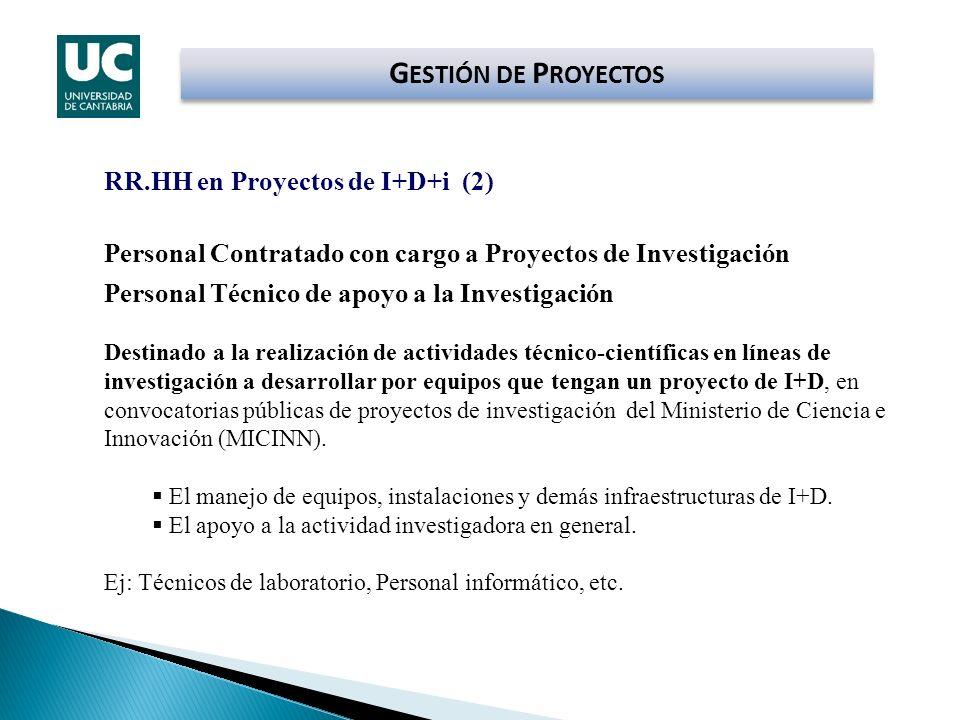 G ESTIÓN DE P ROYECTOS RR.HH en Proyectos de I+D+i (2) Personal Contratado con cargo a Proyectos de Investigación Personal Técnico de apoyo a la Inves