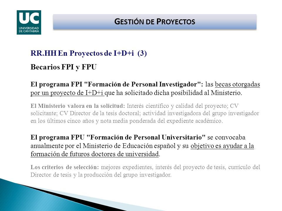 Becarios FPI y FPU El programa FPI