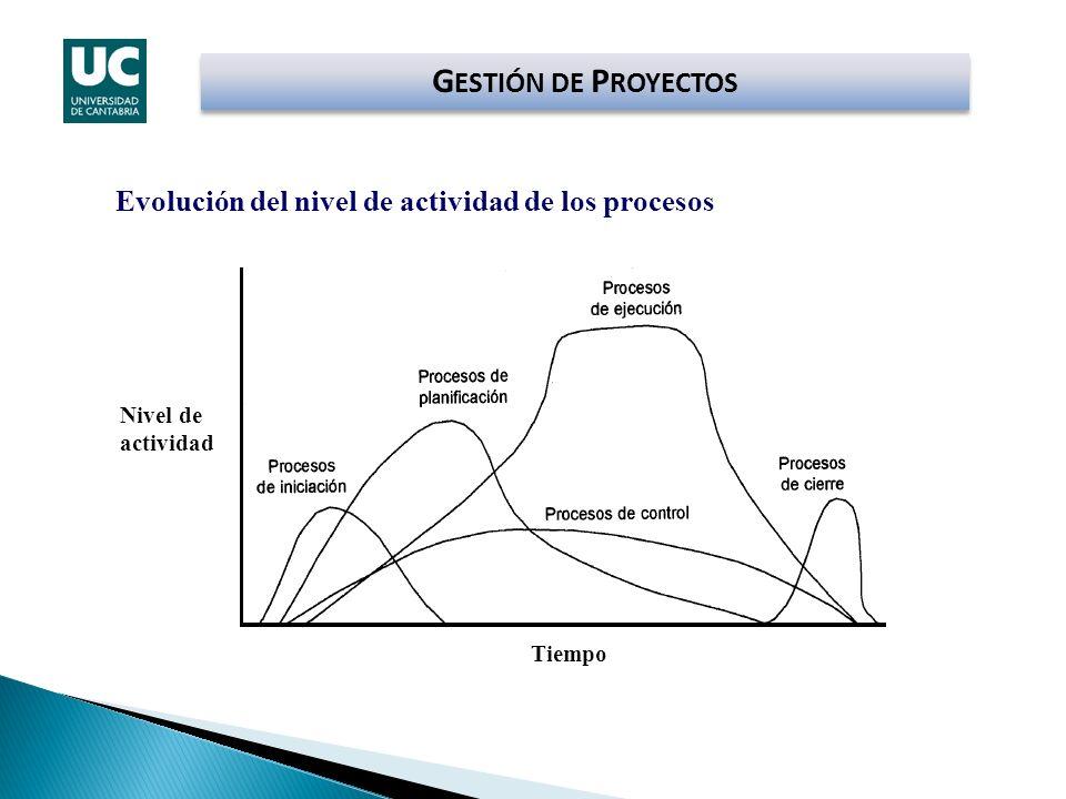 Nivel de actividad Tiempo Evolución del nivel de actividad de los procesos G ESTIÓN DE P ROYECTOS