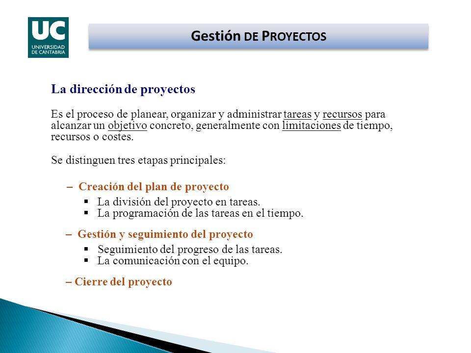 Gestión DE P ROYECTOS La dirección de proyectos Es el proceso de planear, organizar y administrar tareas y recursos para alcanzar un objetivo concreto