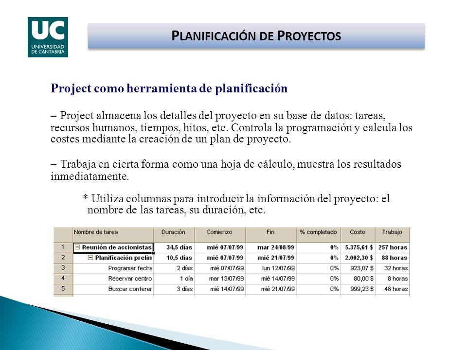 P LANIFICACIÓN DE P ROYECTOS Project como herramienta de planificación – Project almacena los detalles del proyecto en su base de datos: tareas, recur