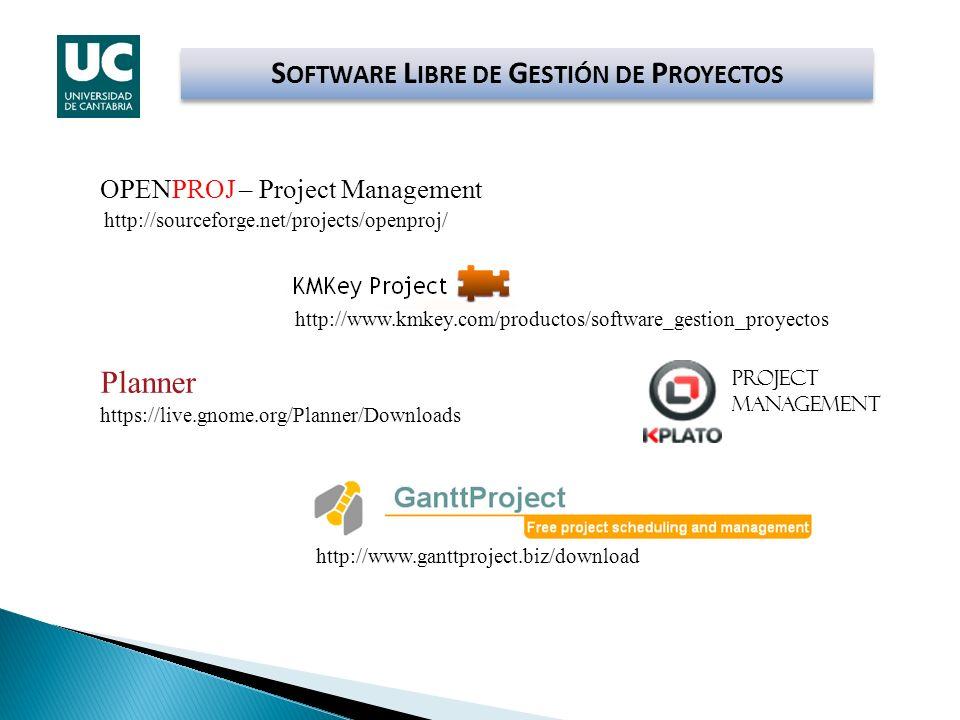 S OFTWARE L IBRE DE G ESTIÓN DE P ROYECTOS http://www.ganttproject.biz/download http://www.kmkey.com/productos/software_gestion_proyectos OPENPROJ – P