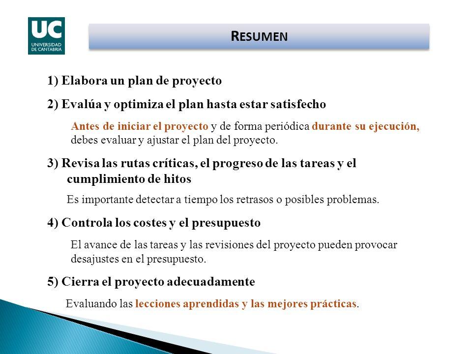1) Elabora un plan de proyecto 2) Evalúa y optimiza el plan hasta estar satisfecho Antes de iniciar el proyecto y de forma periódica durante su ejecuc