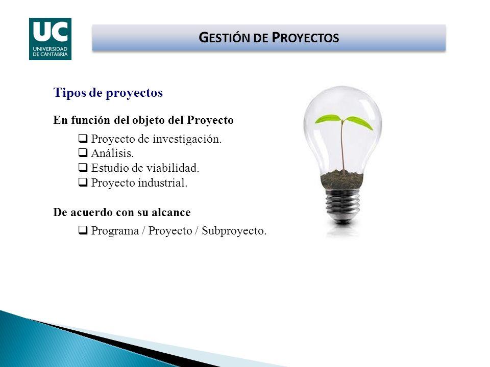 G ESTIÓN DE P ROYECTOS Tipos de proyectos En función del objeto del Proyecto Proyecto de investigación. Análisis. Estudio de viabilidad. Proyecto indu