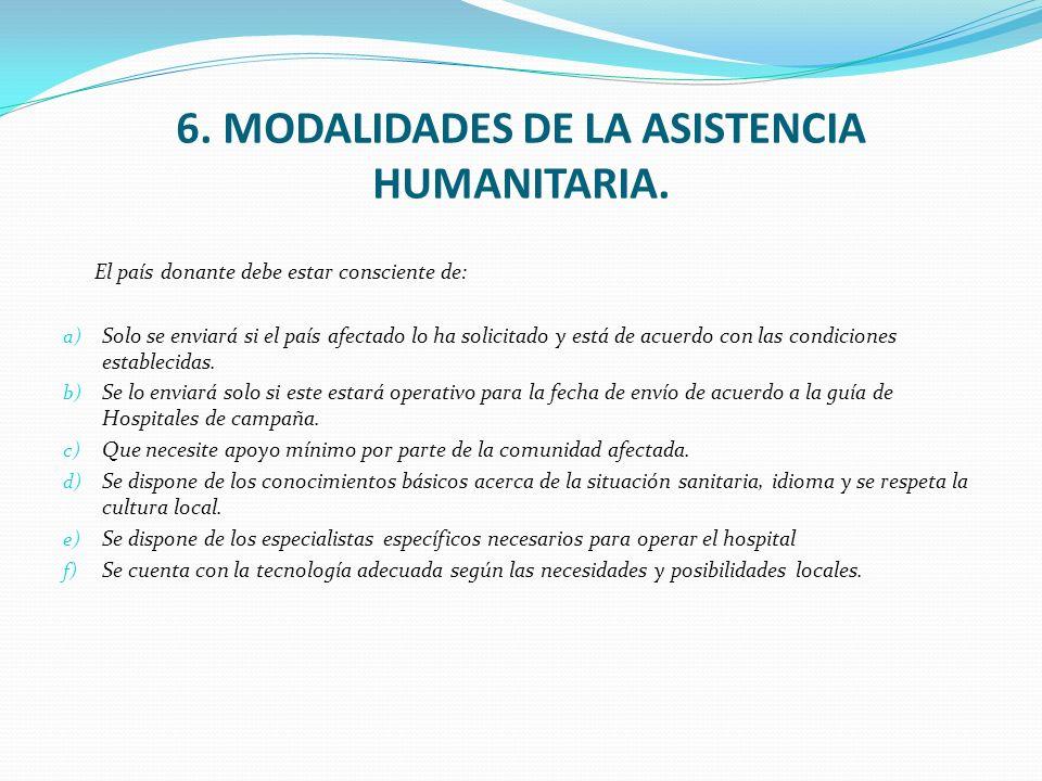 6. MODALIDADES DE LA ASISTENCIA HUMANITARIA. El país donante debe estar consciente de: a) Solo se enviará si el país afectado lo ha solicitado y está