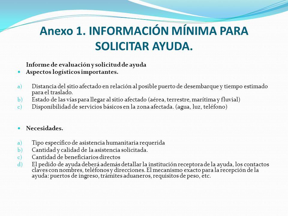 Anexo 1. INFORMACIÓN MÍNIMA PARA SOLICITAR AYUDA. Informe de evaluación y solicitud de ayuda Aspectos logísticos importantes. a) Distancia del sitio a