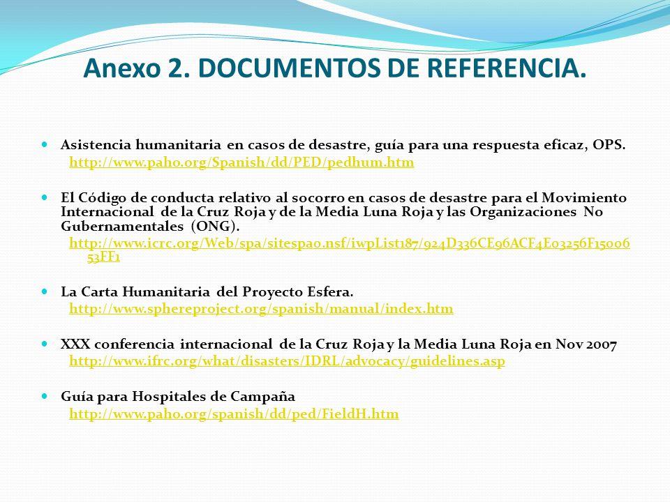 Anexo 2. DOCUMENTOS DE REFERENCIA. Asistencia humanitaria en casos de desastre, guía para una respuesta eficaz, OPS. http://www.paho.org/Spanish/dd/PE