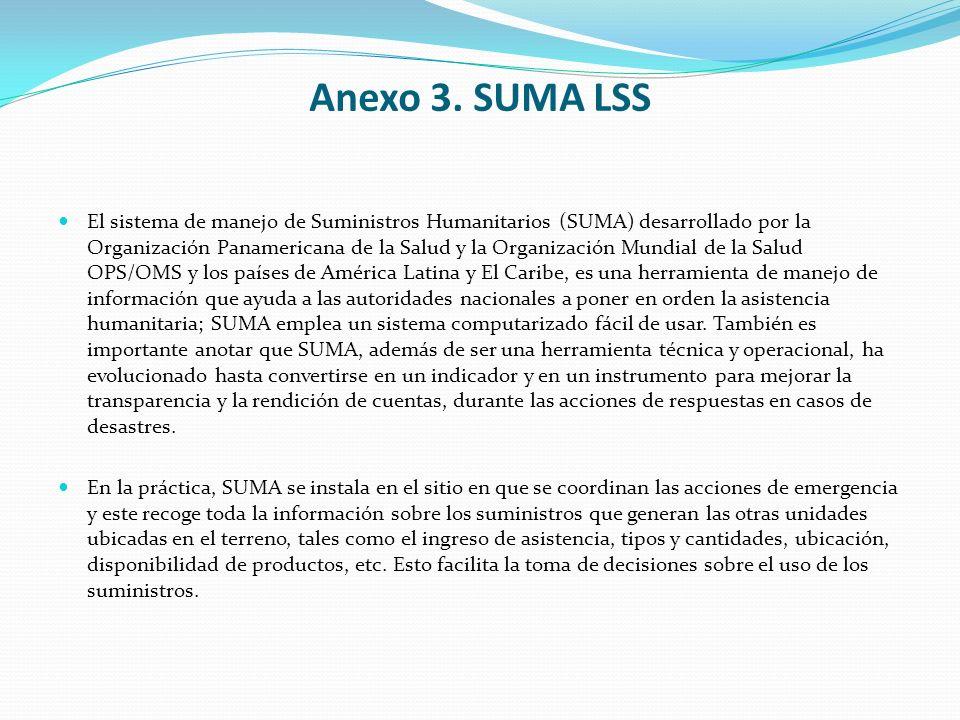 Anexo 3. SUMA LSS El sistema de manejo de Suministros Humanitarios (SUMA) desarrollado por la Organización Panamericana de la Salud y la Organización