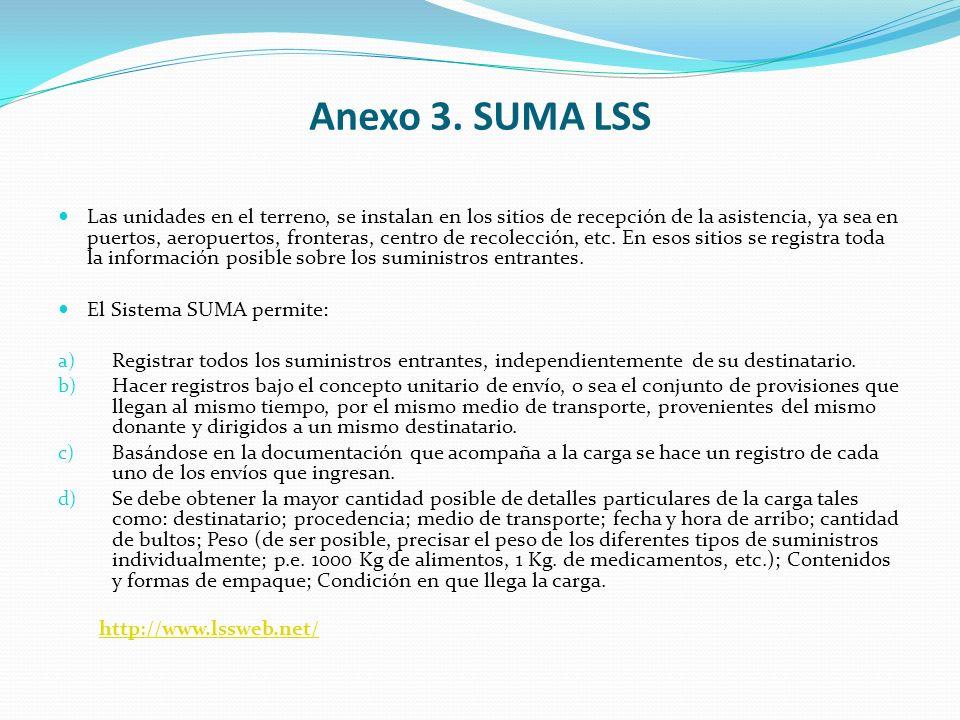 Anexo 3. SUMA LSS Las unidades en el terreno, se instalan en los sitios de recepción de la asistencia, ya sea en puertos, aeropuertos, fronteras, cent