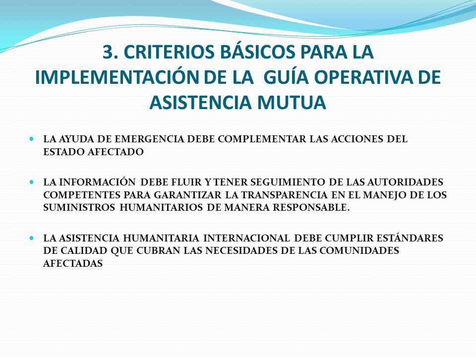 3. CRITERIOS BÁSICOS PARA LA IMPLEMENTACIÓN DE LA GUÍA OPERATIVA DE ASISTENCIA MUTUA LA AYUDA DE EMERGENCIA DEBE COMPLEMENTAR LAS ACCIONES DEL ESTADO