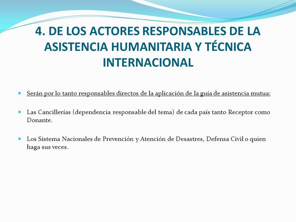 4. DE LOS ACTORES RESPONSABLES DE LA ASISTENCIA HUMANITARIA Y TÉCNICA INTERNACIONAL Serán por lo tanto responsables directos de la aplicación de la gu