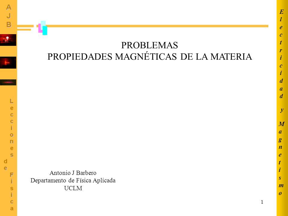 1 PROBLEMAS PROPIEDADES MAGNÉTICAS DE LA MATERIA MagnetismoMagnetismo ElectricidadElectricidad y Antonio J Barbero Departamento de Física Aplicada UCLM