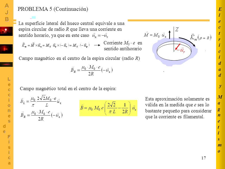 17 PROBLEMA 5 (Continuación) La superficie lateral del hueco central equivale a una espira circular de radio R que lleva una corriente en sentido horario, ya que en este caso Corriente M 0 e en sentido antihorario Campo magnético en el centro de la espira circular (radio R) Campo magnético total en el centro de la espira: Esta aproximación solamente es válida en la medida que e sea lo bastante pequeño para considerar que la corriente es filamental.