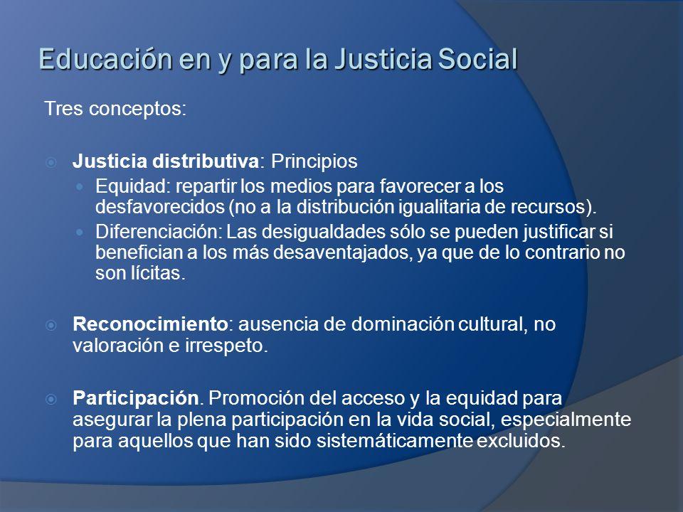 Educación en y para la Justicia Social Tres conceptos: Justicia distributiva: Principios Equidad: repartir los medios para favorecer a los desfavoreci