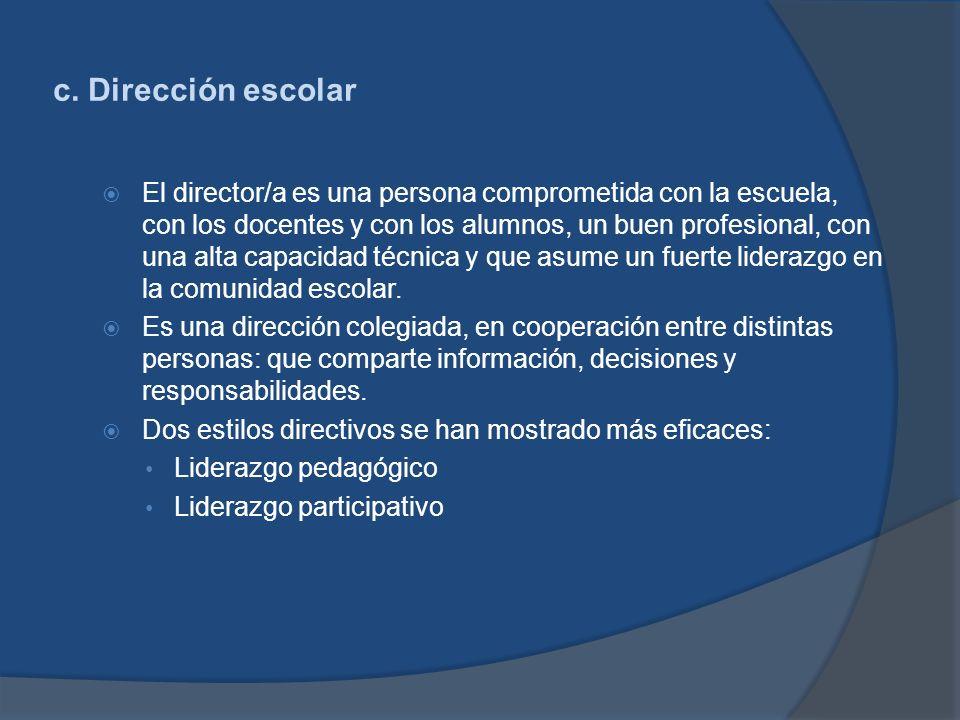 c. Dirección escolar El director/a es una persona comprometida con la escuela, con los docentes y con los alumnos, un buen profesional, con una alta c