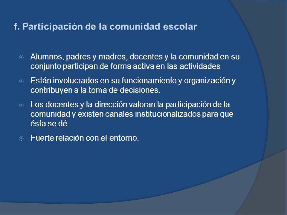 f. Participación de la comunidad escolar Alumnos, padres y madres, docentes y la comunidad en su conjunto participan de forma activa en las actividade
