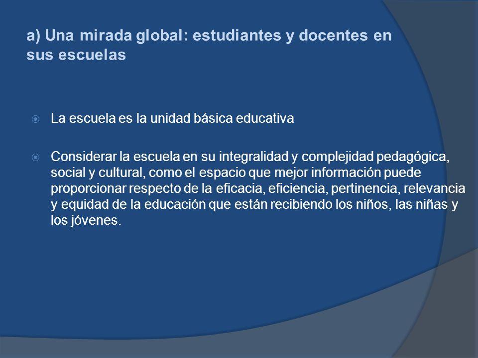 a) Una mirada global: estudiantes y docentes en sus escuelas La escuela es la unidad básica educativa Considerar la escuela en su integralidad y compl