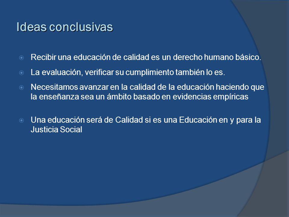 Ideas conclusivas Recibir una educación de calidad es un derecho humano básico. La evaluación, verificar su cumplimiento también lo es. Necesitamos av