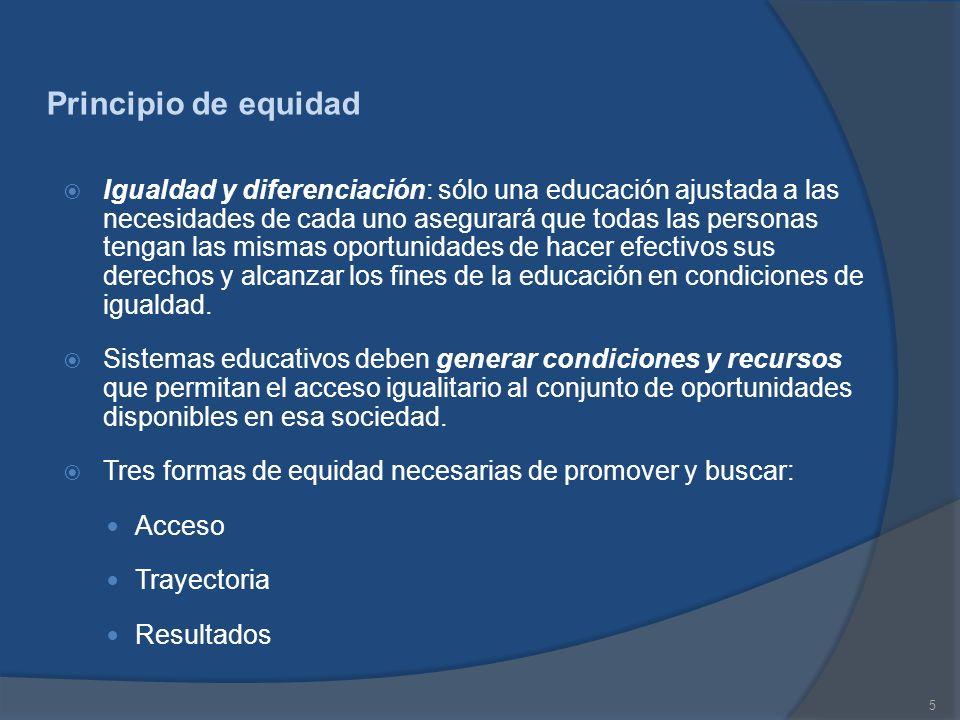 5 Principio de equidad Igualdad y diferenciación: sólo una educación ajustada a las necesidades de cada uno asegurará que todas las personas tengan la