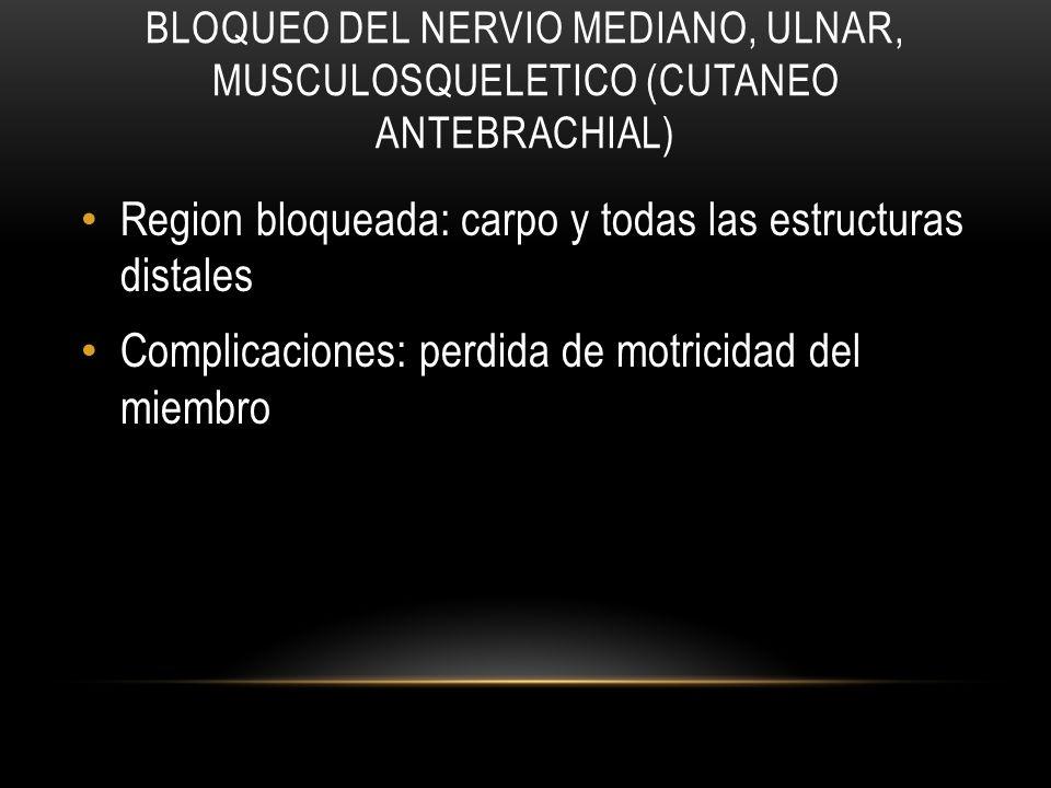 BLOQUEO DEL NERVIO MEDIANO, ULNAR, MUSCULOSQUELETICO (CUTANEO ANTEBRACHIAL) Region bloqueada: carpo y todas las estructuras distales Complicaciones: p