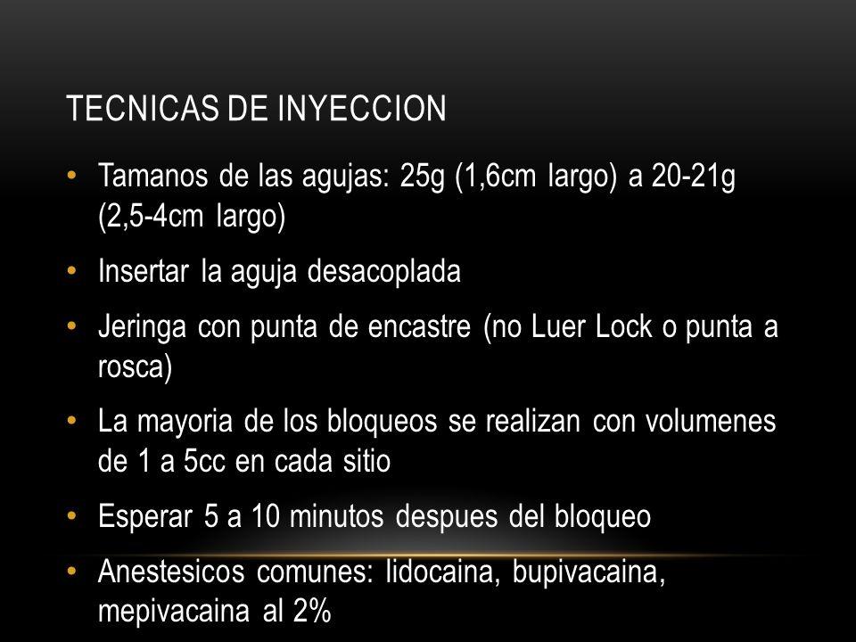 TECNICAS DE INYECCION Tamanos de las agujas: 25g (1,6cm largo) a 20-21g (2,5-4cm largo) Insertar la aguja desacoplada Jeringa con punta de encastre (n