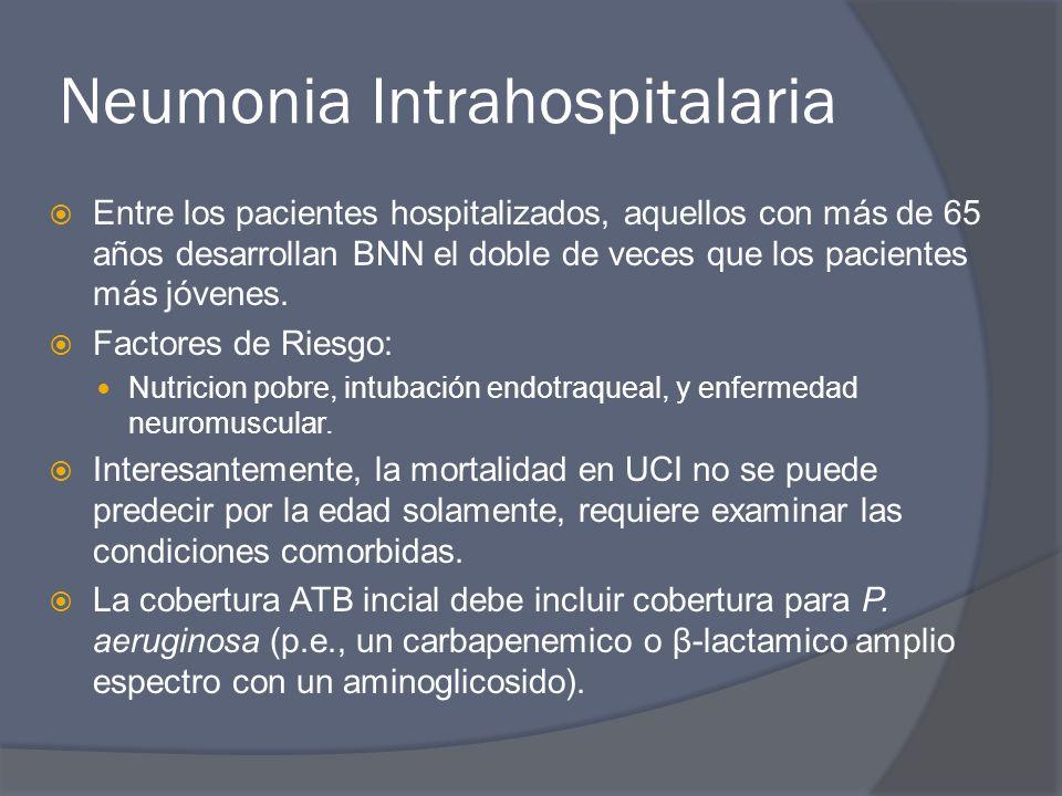 Neumonia Intrahospitalaria Entre los pacientes hospitalizados, aquellos con más de 65 años desarrollan BNN el doble de veces que los pacientes más jóv