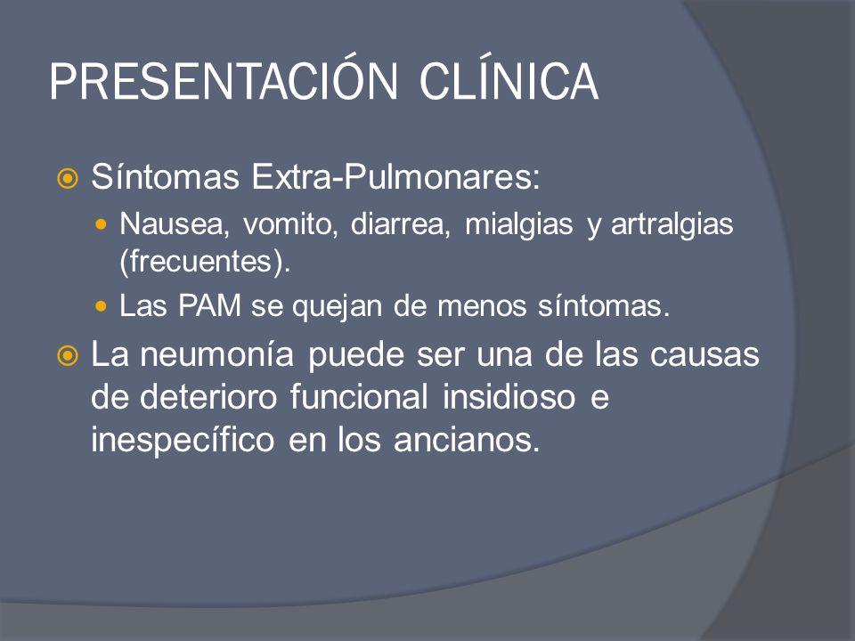 PRESENTACIÓN CLÍNICA Síntomas Extra-Pulmonares: Nausea, vomito, diarrea, mialgias y artralgias (frecuentes). Las PAM se quejan de menos síntomas. La n