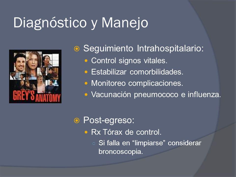 Diagnóstico y Manejo Seguimiento Intrahospitalario: Control signos vitales. Estabilizar comorbilidades. Monitoreo complicaciones. Vacunación pneumococ