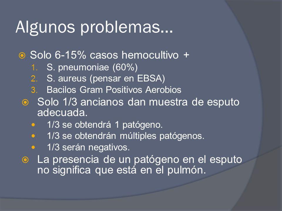 Algunos problemas… Solo 6-15% casos hemocultivo + 1. S. pneumoniae (60%) 2. S. aureus (pensar en EBSA) 3. Bacilos Gram Positivos Aerobios Solo 1/3 anc