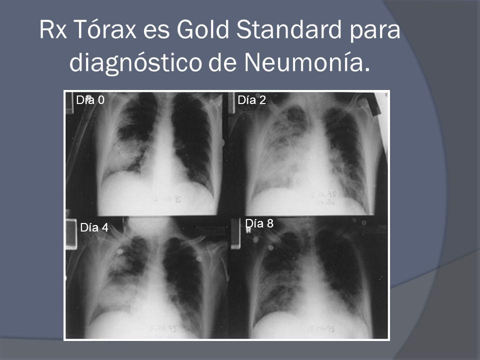 Rx Tórax es Gold Standard para diagnóstico de Neumonía. Día 0Día 2 Día 4 Día 8