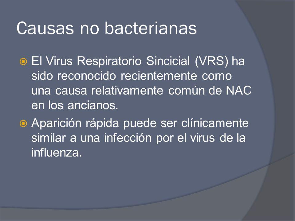 Causas no bacterianas El Virus Respiratorio Sincicial (VRS) ha sido reconocido recientemente como una causa relativamente común de NAC en los ancianos