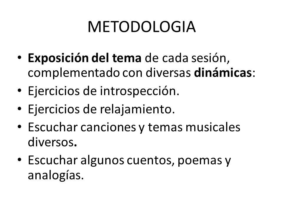 METODOLOGIA Exposición del tema de cada sesión, complementado con diversas dinámicas: Ejercicios de introspección. Ejercicios de relajamiento. Escucha